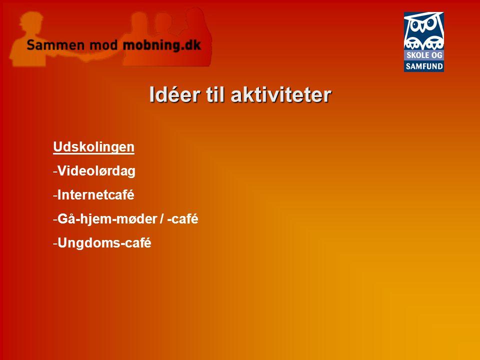 Idéer til aktiviteter Udskolingen Videolørdag Internetcafé