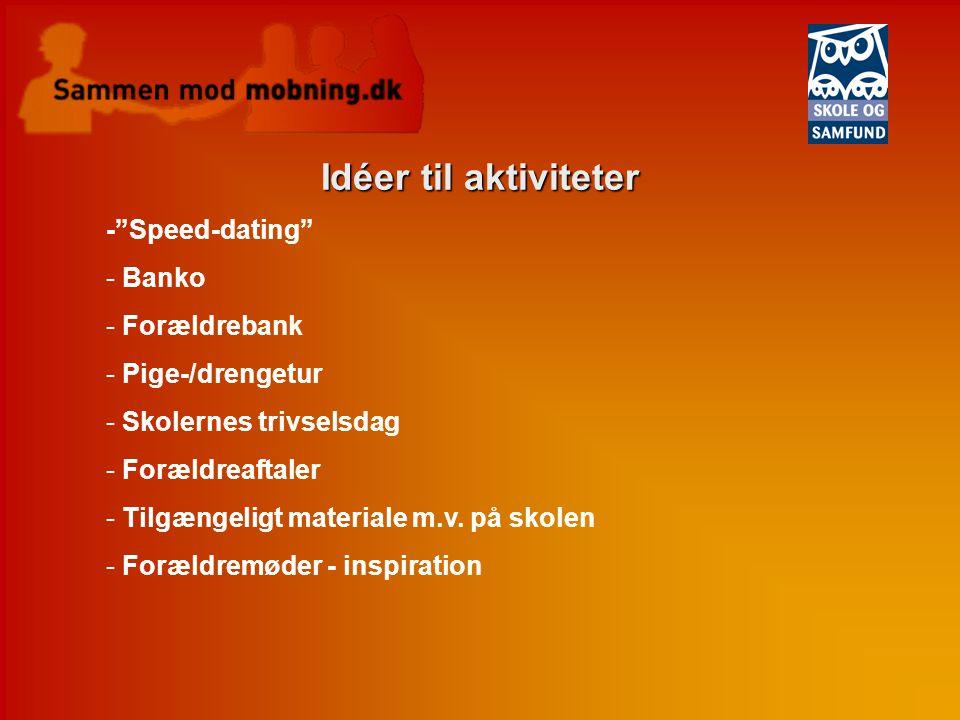 Idéer til aktiviteter - Speed-dating Banko Forældrebank
