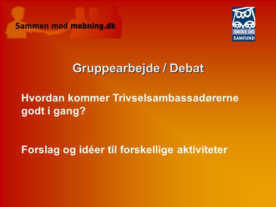 Gruppearbejde / Debat Hvordan kommer Trivselsambassadørerne godt i gang Forslag og idéer til forskellige aktiviteter.
