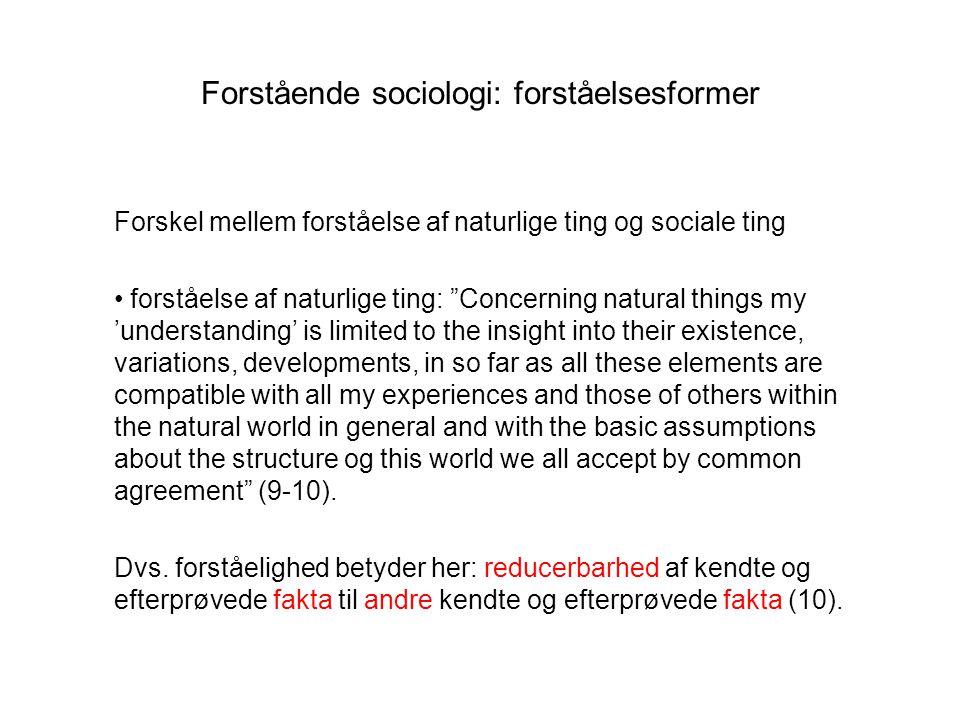 Forstående sociologi: forståelsesformer