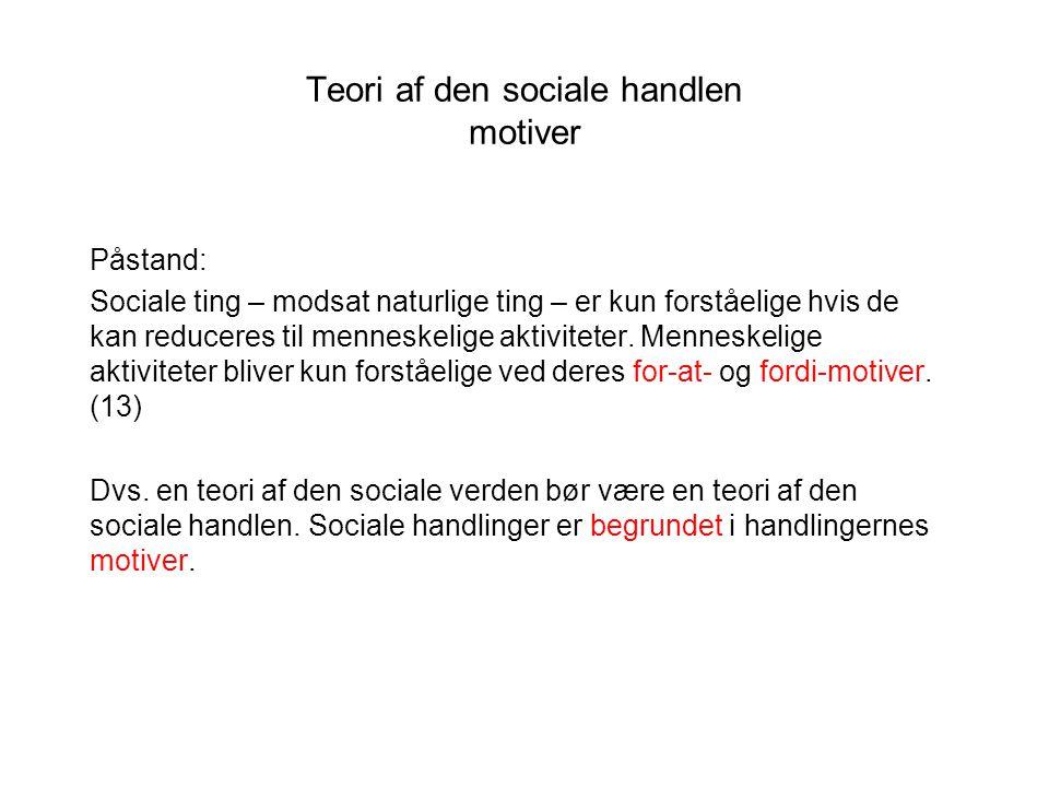 Teori af den sociale handlen motiver