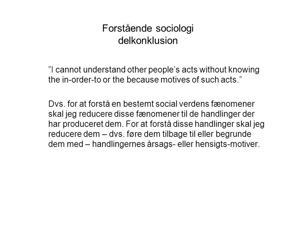 Forstående sociologi delkonklusion