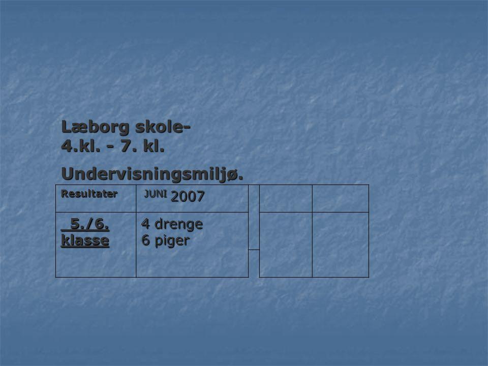Læborg skole- 4.kl. - 7. kl. Undervisningsmiljø. 5./6. klasse 4 drenge