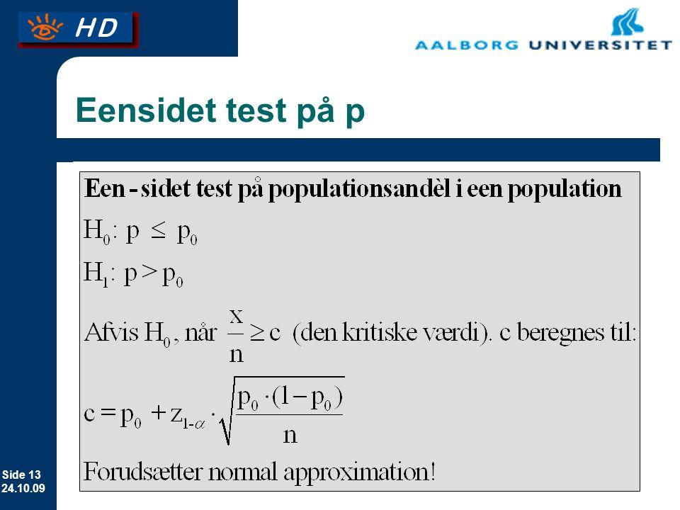 Eensidet test på p