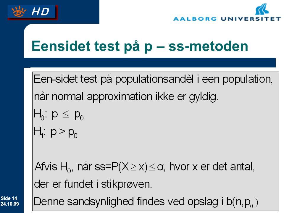 Eensidet test på p – ss-metoden