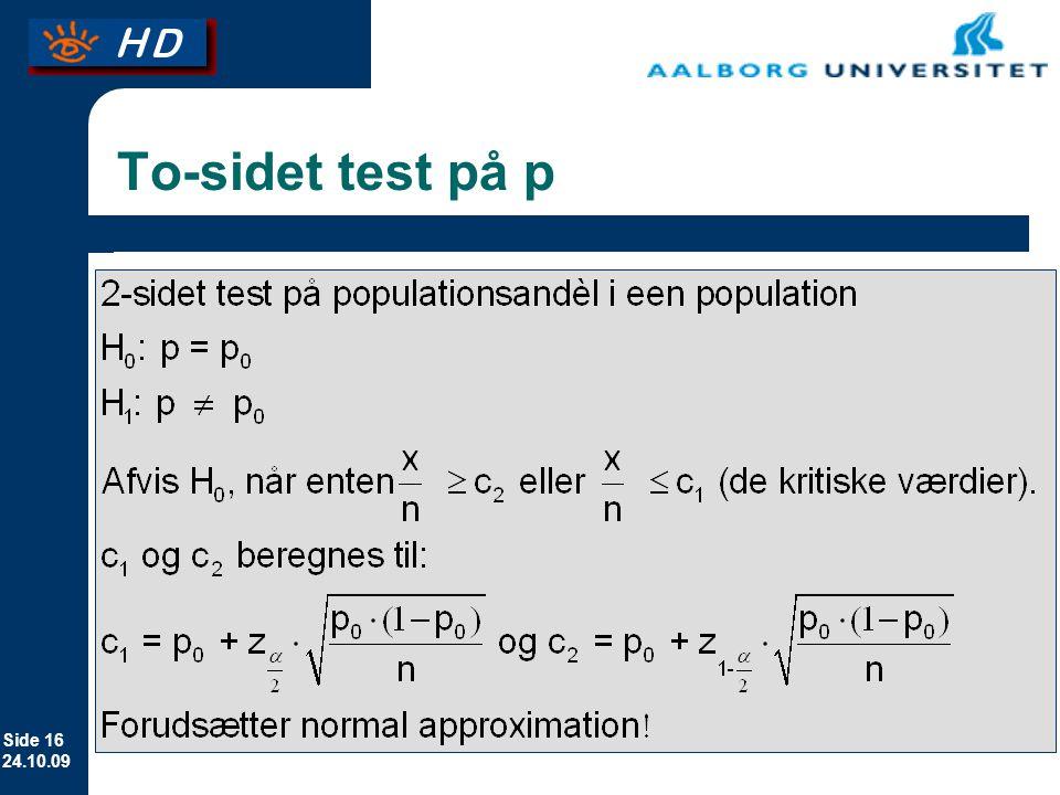 To-sidet test på p