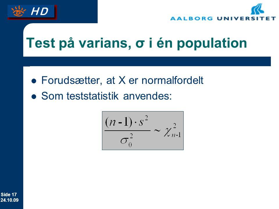 Test på varians, σ i én population
