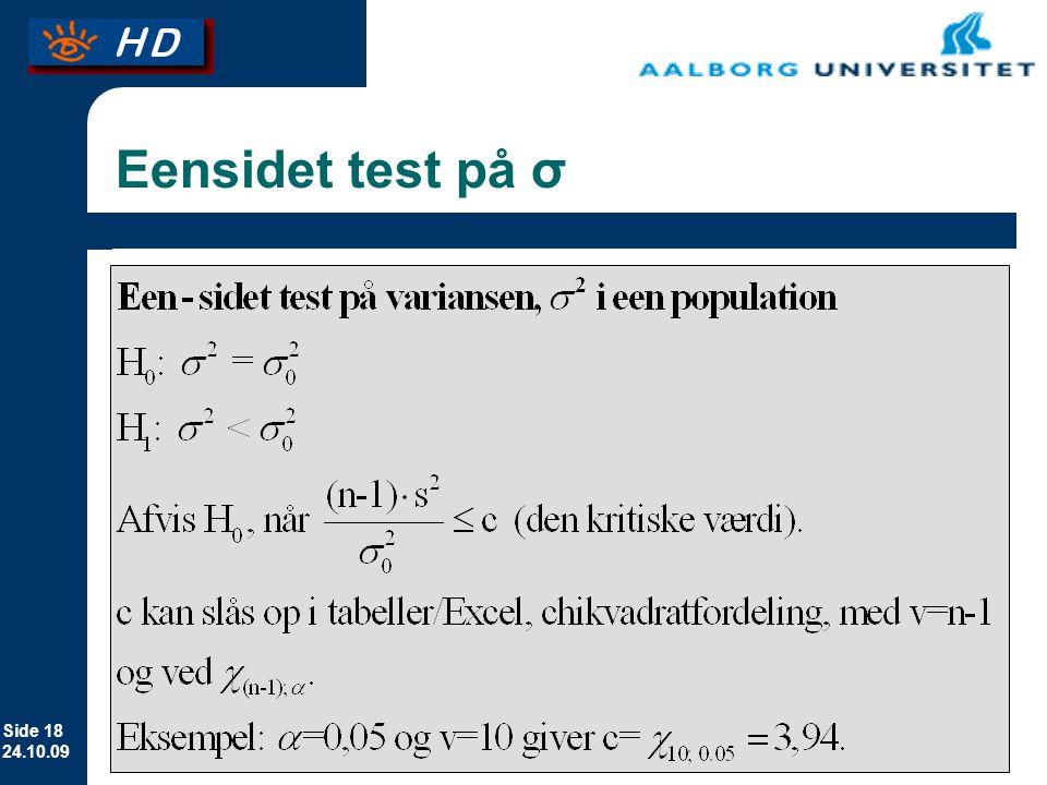 Eensidet test på σ