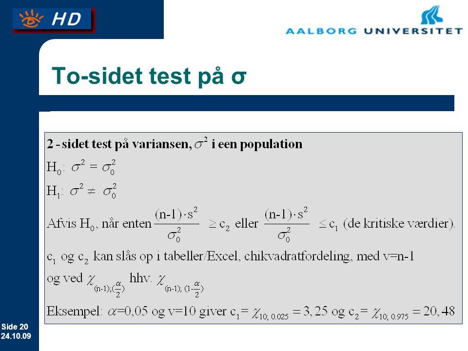 To-sidet test på σ