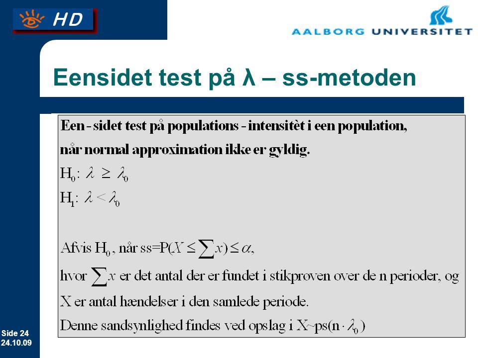 Eensidet test på λ – ss-metoden