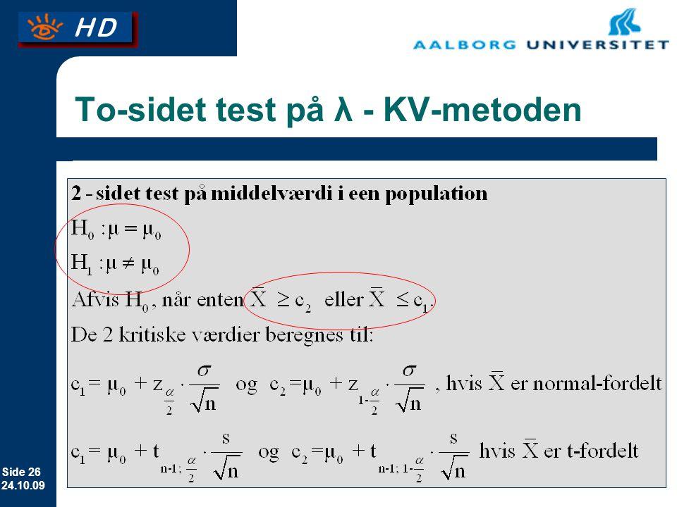 To-sidet test på λ - KV-metoden