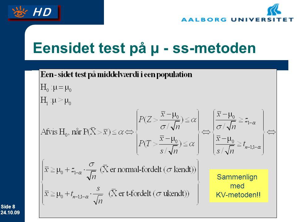 Eensidet test på µ - ss-metoden