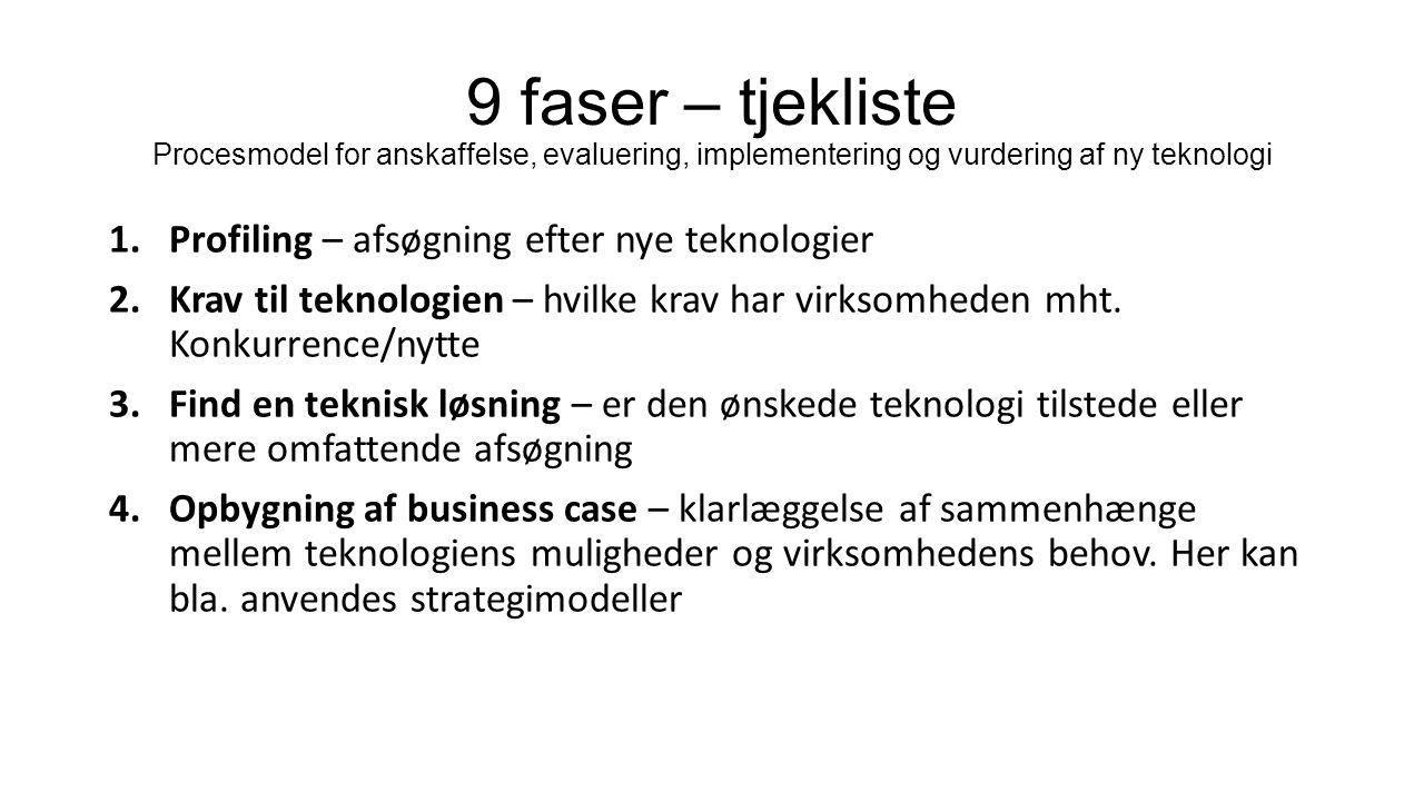 9 faser – tjekliste Procesmodel for anskaffelse, evaluering, implementering og vurdering af ny teknologi