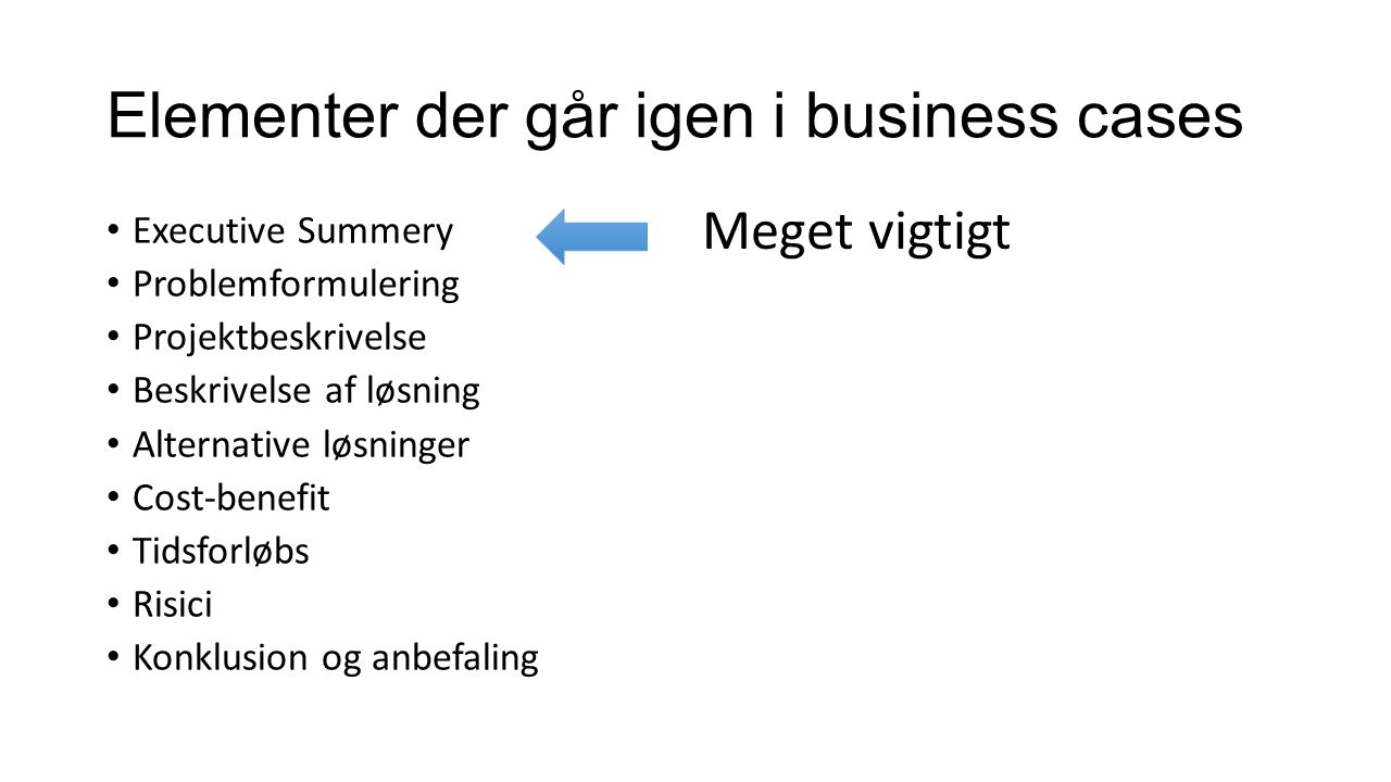 Elementer der går igen i business cases