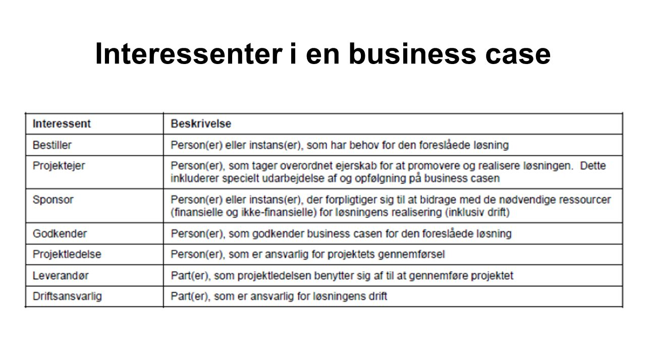 Interessenter i en business case