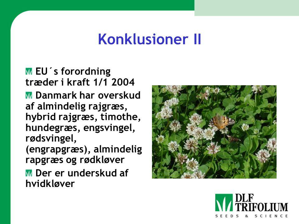 Konklusioner II EU´s forordning træder i kraft 1/1 2004