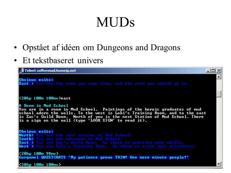 MUDs Opstået af idéen om Dungeons and Dragons Et tekstbaseret univers