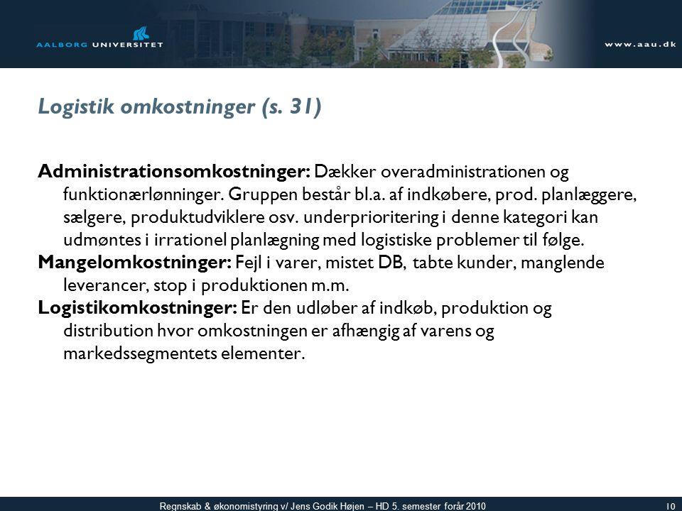 Logistik omkostninger (s. 31)