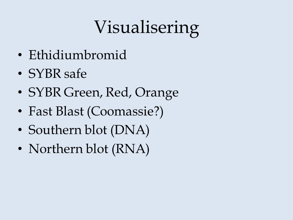 Visualisering Ethidiumbromid SYBR safe SYBR Green, Red, Orange