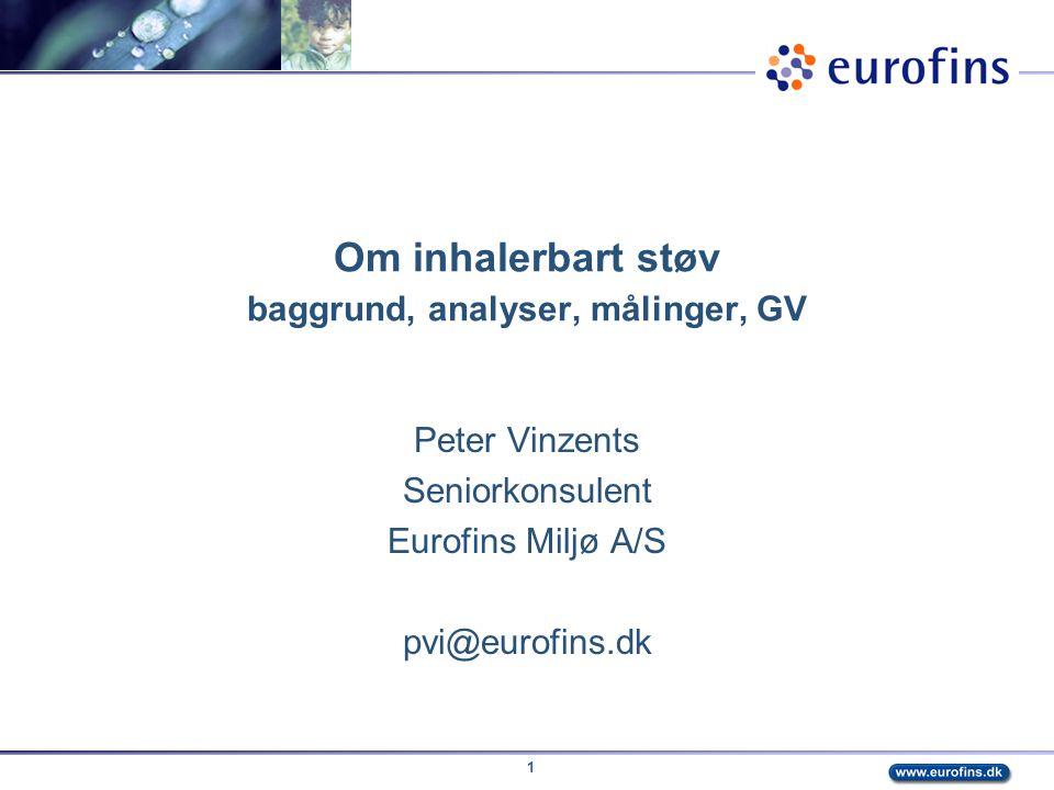 Om inhalerbart støv baggrund, analyser, målinger, GV
