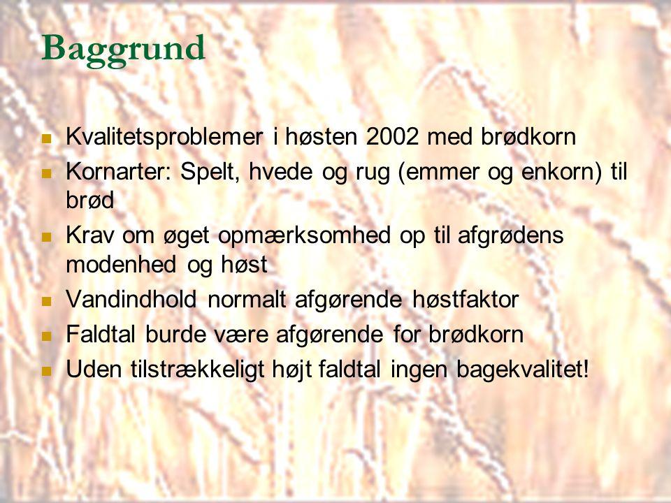 Baggrund Kvalitetsproblemer i høsten 2002 med brødkorn