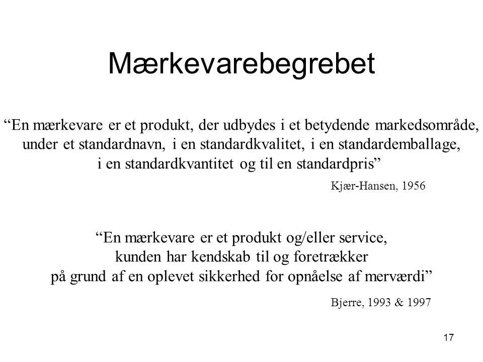 Mærkevarebegrebet En mærkevare er et produkt, der udbydes i et betydende markedsområde,