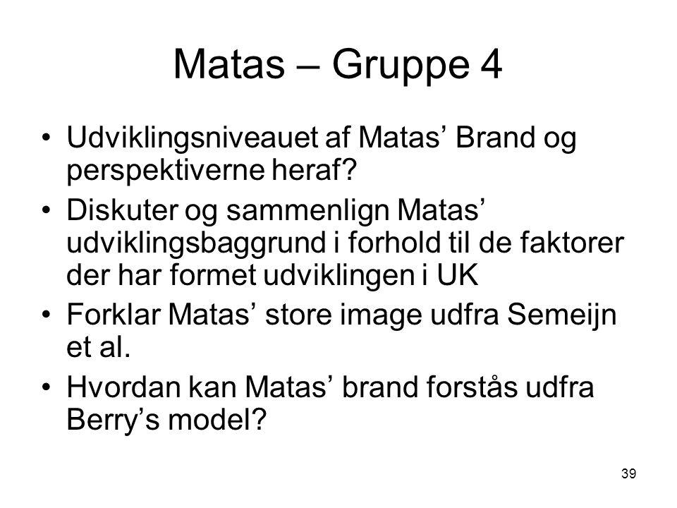 Matas – Gruppe 4 Udviklingsniveauet af Matas' Brand og perspektiverne heraf