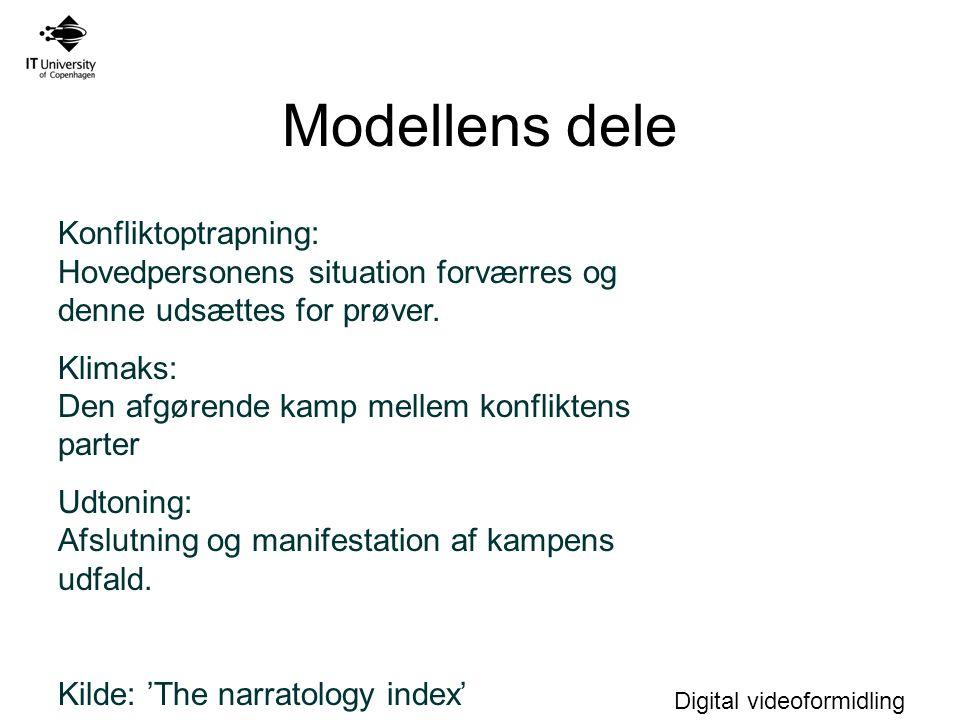 Modellens dele Konfliktoptrapning: Hovedpersonens situation forværres og denne udsættes for prøver.