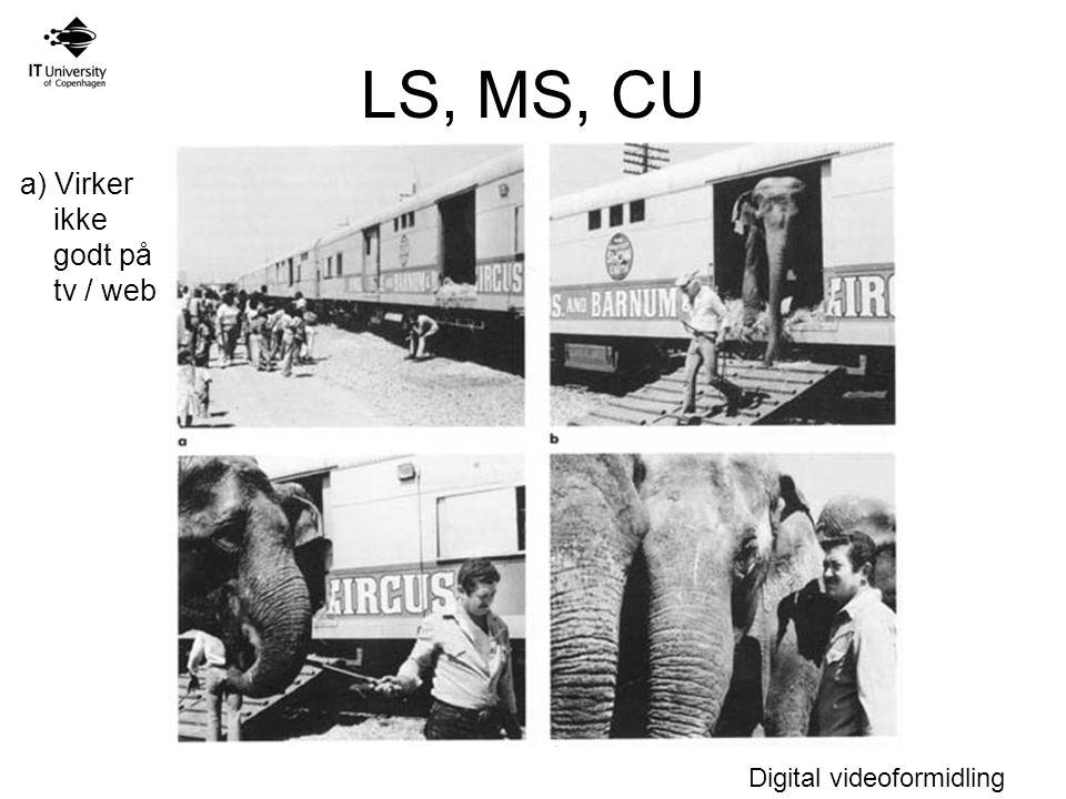 LS, MS, CU a) Virker ikke godt på tv / web