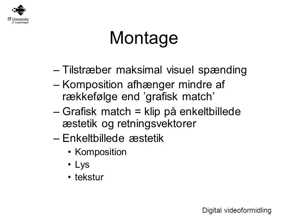 Montage Tilstræber maksimal visuel spænding