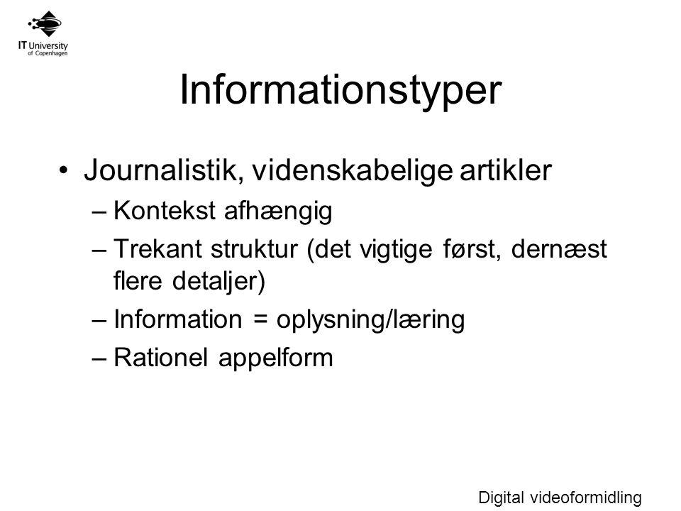 Informationstyper Journalistik, videnskabelige artikler