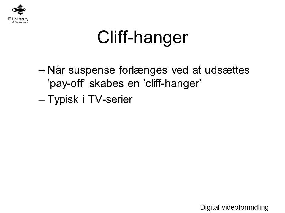Cliff-hanger Når suspense forlænges ved at udsættes 'pay-off' skabes en 'cliff-hanger' Typisk i TV-serier.