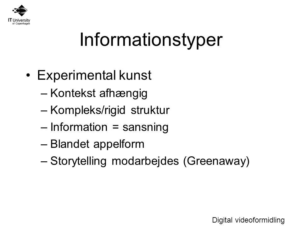 Informationstyper Experimental kunst Kontekst afhængig
