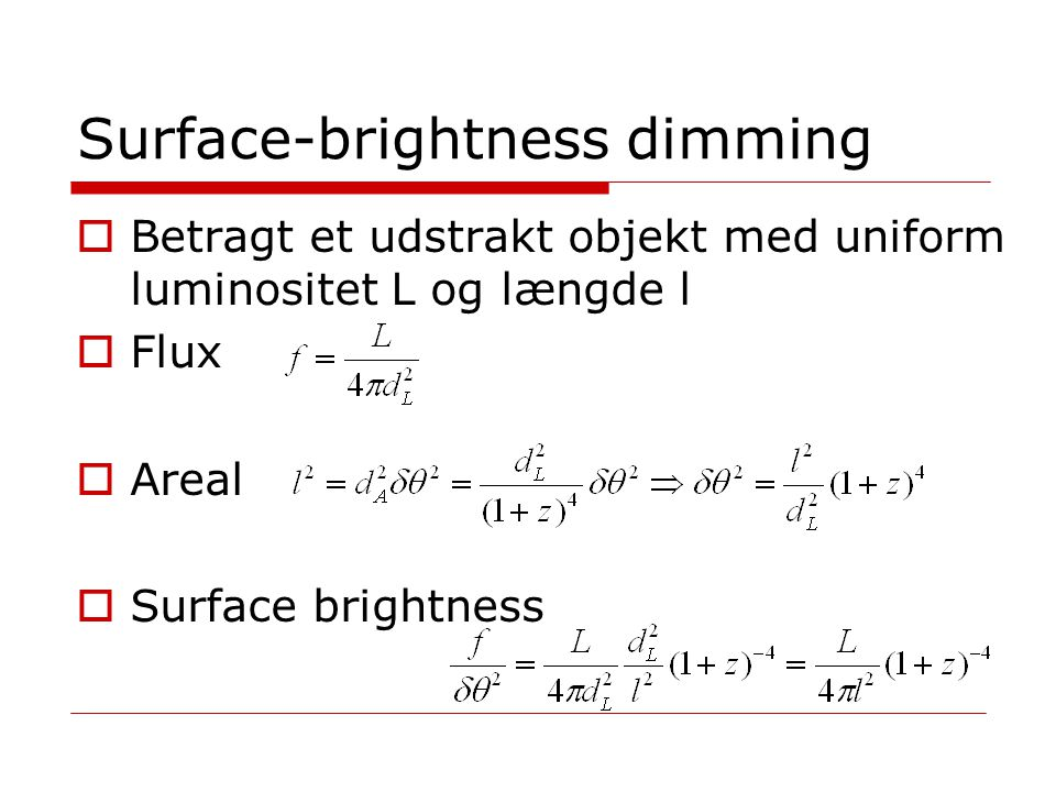 Surface-brightness dimming