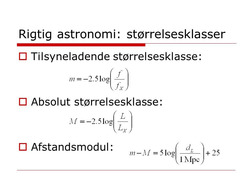 Rigtig astronomi: størrelsesklasser