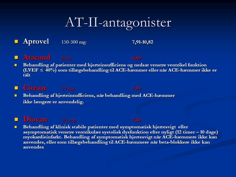 AT-II-antagonister Aprovel 150-300 mg: 7,91-10,82 Atacand 8mg: 6,80