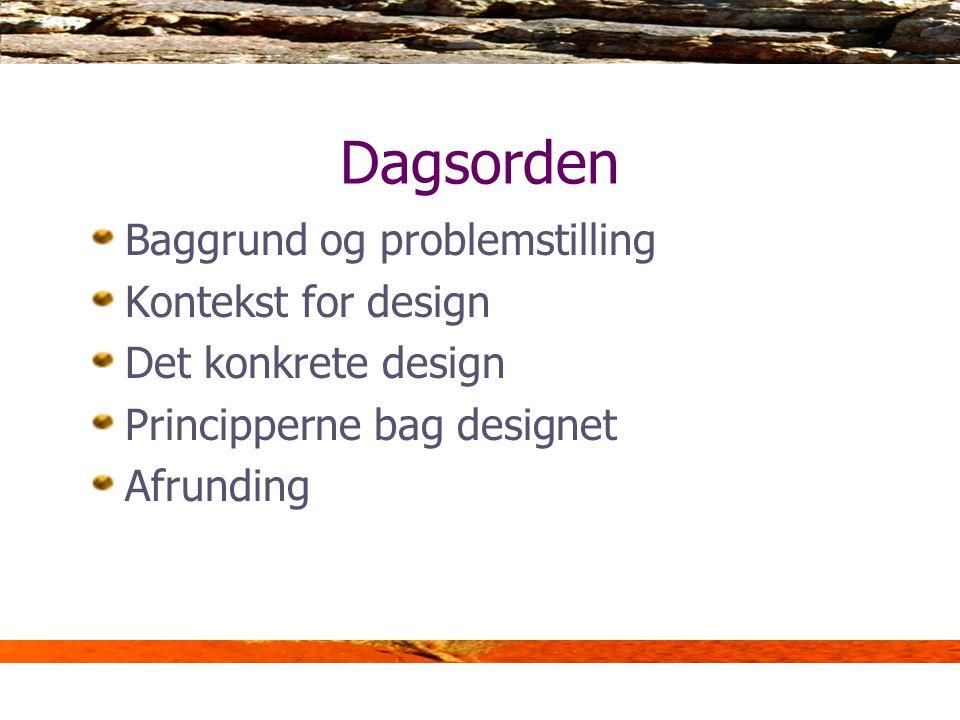 Dagsorden Baggrund og problemstilling Kontekst for design