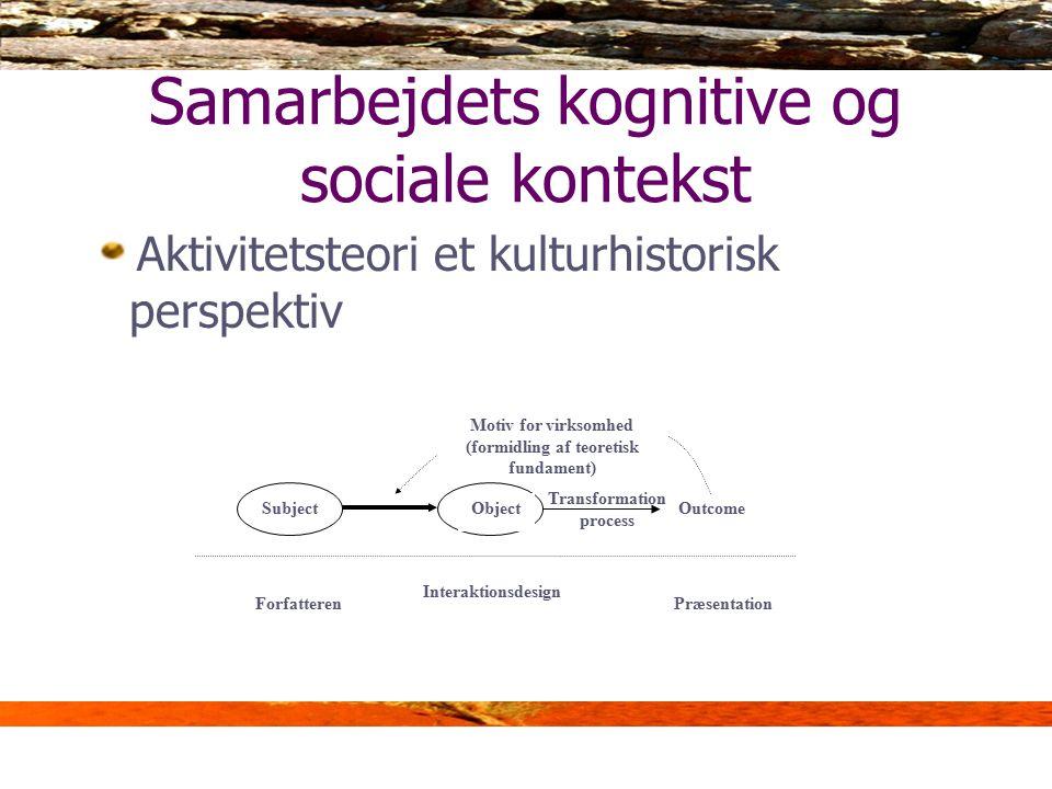 Samarbejdets kognitive og sociale kontekst