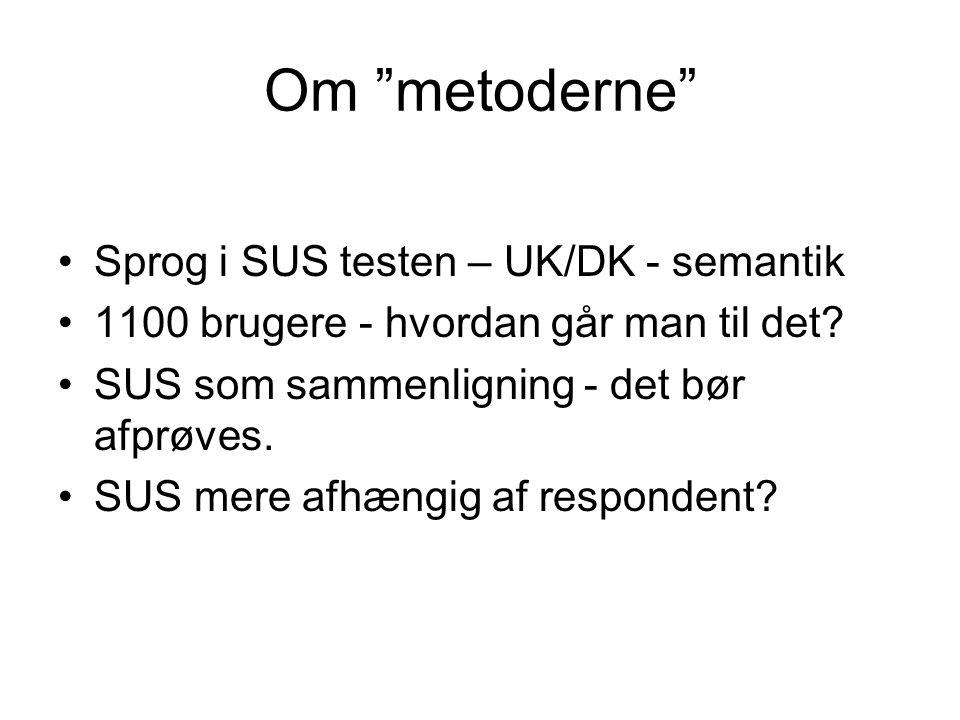 Om metoderne Sprog i SUS testen – UK/DK - semantik
