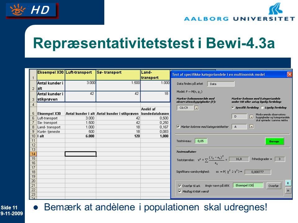 Repræsentativitetstest i Bewi-4.3a