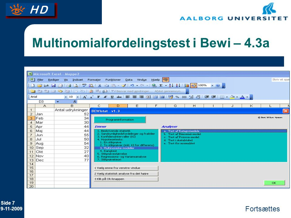 Multinomialfordelingstest i Bewi – 4.3a