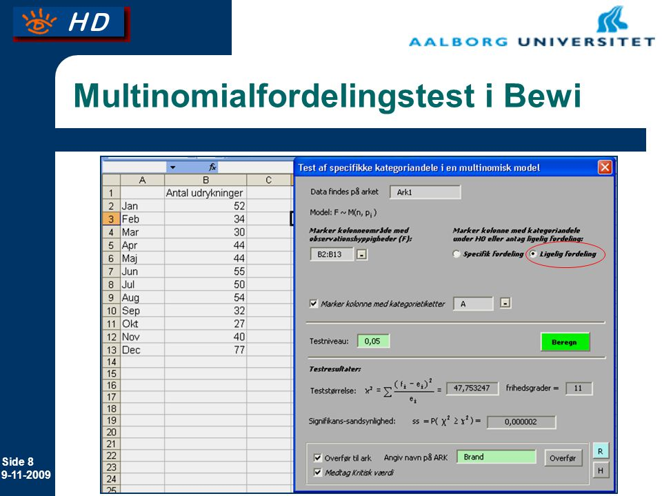 Multinomialfordelingstest i Bewi