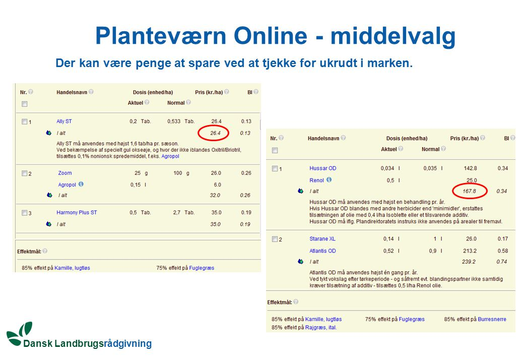 Planteværn Online - middelvalg