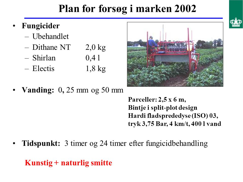 Plan for forsøg i marken 2002