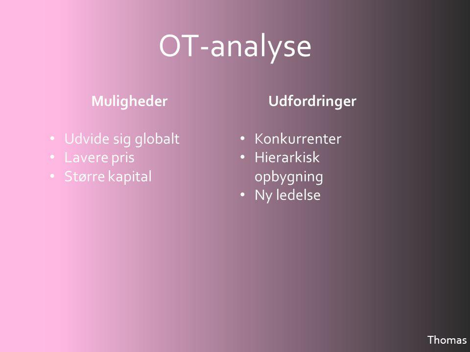 OT-analyse Muligheder Udvide sig globalt Lavere pris Større kapital