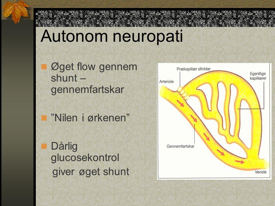Autonom neuropati Øget flow gennem shunt – gennemfartskar