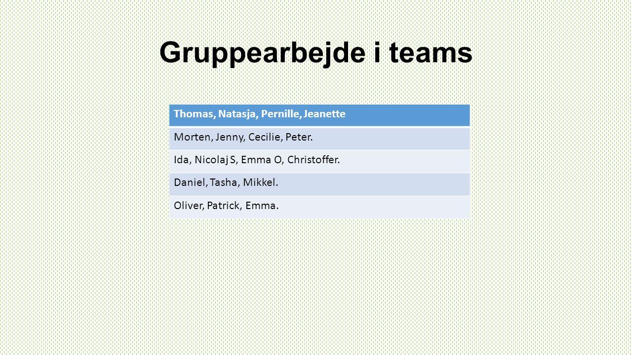 Gruppearbejde i teams Thomas, Natasja, Pernille, Jeanette