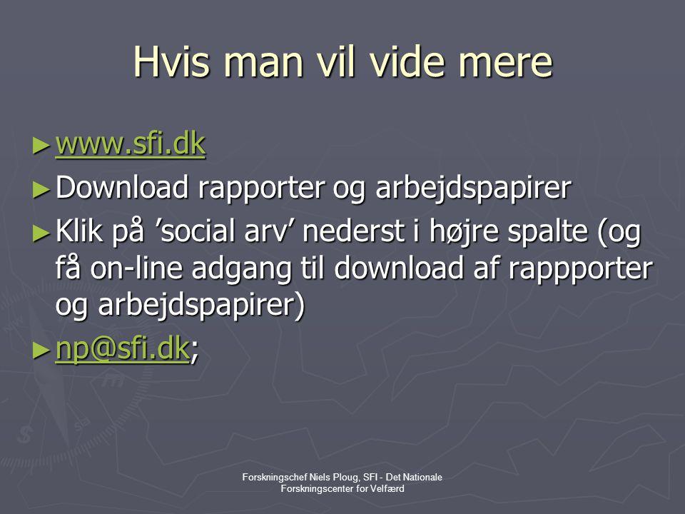 Hvis man vil vide mere www.sfi.dk Download rapporter og arbejdspapirer