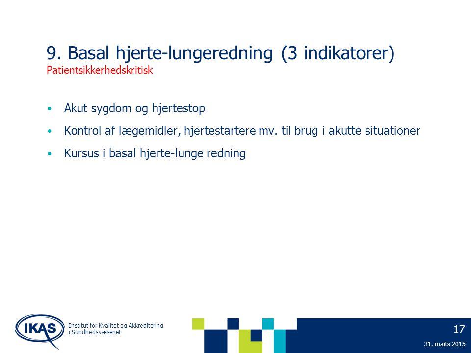9. Basal hjerte-lungeredning (3 indikatorer) Patientsikkerhedskritisk