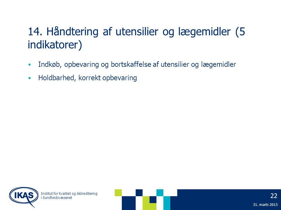 14. Håndtering af utensilier og lægemidler (5 indikatorer)